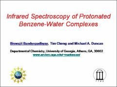 Thumbnail of PROTON  BETWEEN BENZENE AND WATER: INFRARED SPECTROSCOPY TO MODEL INTERACTIONS AT THE OIL-WATER INTERFACE