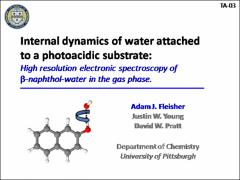 Thumbnail of INTERNAL DYNAMICS OF WATER ATTACHED TO A PHOTOACIDIC SUBSTRATE: HIGH RESOLUTION ELECTRONIC SPECTROSCOPY OF $\beta$-NAPHTHOL-WATER IN THE GAS PHASE