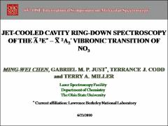 Thumbnail of JET-COOLED CAVITY RING-DOWN SPECTROSCOPY OF THE $\tilde{A} ^2E^{\prime\prime}$-$\tilde{X} ^2A_2^{\prime}$ VIBRONIC TRANSITION OF NO$_3$