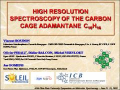 Thumbnail of HIGH RESOLUTION SPECTROSCOPY OF THE CARBON CAGE ADAMANTANE C$_{10}$H$_{16}$