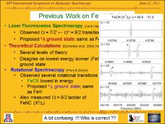Thumbnail of FOURIER TRANSFORM MICROWAVE SPECTRUM OF THE FeCN RADICAL (X$^4\Delta_i$) AND CONFIRMATION OF THE GROUND ELECTRONIC STATE