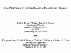 Thumbnail of LINE PARAMETERS OF CARBON DIOXIDE IN THE 4850 CM$^{-1}$ REGION