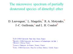 Thumbnail of THE MICROWAVE SPECTRUM OF PARTIALLY DEUTERATED SPECIES OF DIMETHYL ETHER