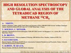Thumbnail of HIGH RESOLUTION SPECTROSCOPY AND GLOBAL ANALYSIS OF THE TETRADECAD REGION OF METHANE ${}^{12}$CH$_4$