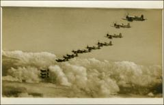 Thumbnail of VMF-155 Corsairs in flight formation, close up