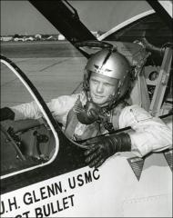 Thumbnail of John Glenn in the cockpit his F8U-1P Crusader
