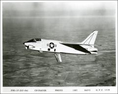 Thumbnail of John Glenn's F8U-1P Crusader in flight with air brake deployed