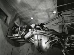 Thumbnail of Astronaut Walter Schirra prepares to enter the gondola of a centrifuge