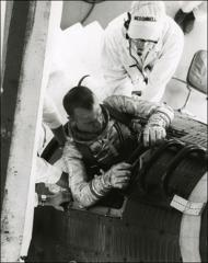 "Thumbnail of Project Mercury astronaut Alan Shepard climbs into his ""Freedom 7"" spacecraft"