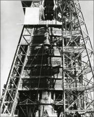 Thumbnail of Friendship 7 being lifted up to top of launch pad
