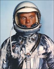 Thumbnail of John Glenn in Project Mercury space suit and helmet