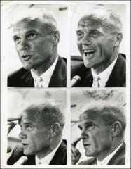 Thumbnail of Four candid portraits of John Glenn at a news conference