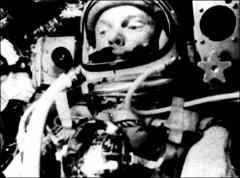 Thumbnail of John Glenn in space, looking right