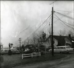 Thumbnail of Television crews at the Glenn home in New Concord, Ohio