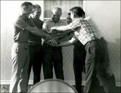 Thumbnail of Astronauts Scott Carpenter, Don Slayton, John Glenn, Gus Grissom, Alan Shepard, and Walt Schirra