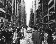 Thumbnail of Automobiles carrying John Glenn and the other Project Mercury astronauts down Broadway