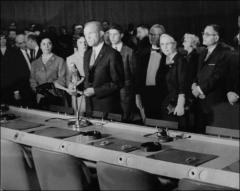 Thumbnail of John Glenn reads a statement about his space flight at the United Nations