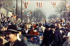 Thumbnail of John and Annie Glenn riding in the New Concord, Ohio parade