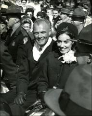 Thumbnail of Close-up view of John and Annie Glenn riding in the New Concord, Ohio parade
