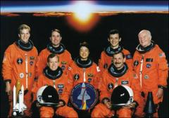 Thumbnail of Group portrait of the crew members of the Space Shuttle Discovery mission STS-95