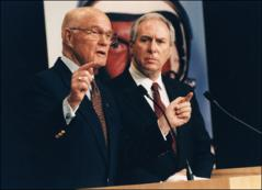 Thumbnail of John Glenn and Dan Goldin at the NASA press conference announcing Glenn's return to space