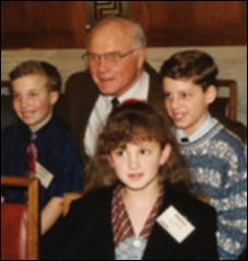 Thumbnail of John Glenn and students at the St. Bernadette School in Lancaster, Ohio, 1998