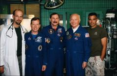 Thumbnail of Astronauts John Glenn, Curt Brown and Steven Lindsey on the set of ER
