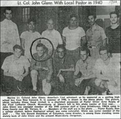 Thumbnail of John Glenn with staff of YMCA Camp Brinkhaven, 1940