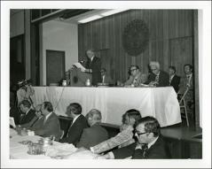 Thumbnail of John Glenn speaks at a meeting concerning the Piketon Gaseous Diffusion Plant, 1977
