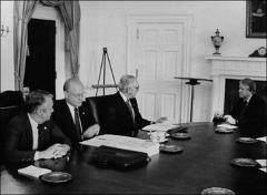 Thumbnail of John Glenn and other legislators meet with President Carter to discuss energy policy