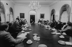Thumbnail of John Glenn and other members of the Senate Foreign Relations Committee meet with President Carter