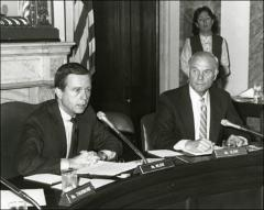 Thumbnail of John Glenn at a hearing of the Senate Armed Services Committee