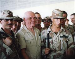 Thumbnail of John Glenn with a group of U.S. soldiers during the Persian Gulf War