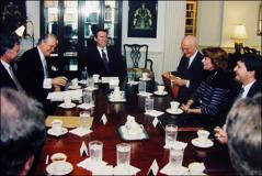 Thumbnail of John Glenn and Fred Thompson meeting with Secretary of Defense William Cohen