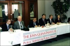 Thumbnail of John Glenn and Herb Asher at a meeting of the John Glenn Institute for Public Service and Public Policy