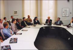 Thumbnail of John Glenn and Herb Asher meeting with Ohio State University students