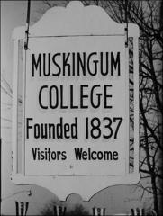 "Thumbnail of Sign in New Concord, Ohio, reading ""Muskingum College - Founded 1837"""