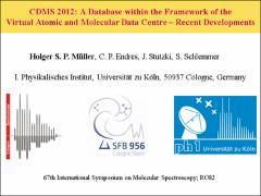 Thumbnail of CDMS 2012: A DATABASE WITHIN THE FRAMEWORK OF THE VIRTUAL ATOMIC AND        MOLECULAR DATA CENTRE $-$ RECENT DEVELOPMENTS