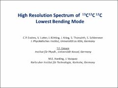 Thumbnail of HIGH RESOLUTION SPECTRUM OF THE $^{13}$C$^{12}$C$^{12}$C LOWEST BENDING MODE