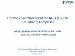 Thumbnail of ELECTRONIC SPECTROSCOPY OF THE NO-X (X = RARE GAS, ALKANE) COMPLEXES