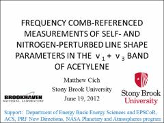 Thumbnail of FREQUENCY COMB-REFERENCED MEASUREMENTS OF SELF- AND NITROGEN-PERTURBED LINE SHAPE PARAMETERS IN THE $\nu_1$ + $\nu_3$ BAND OF ACETYLENE
