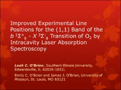 Thumbnail of IMPROVED EXPERIMENTAL LINE POSITIONS FOR THE (1,1) BAND OF THE $b ^{1}\Sigma^{+}$ - $X ^{3}\Sigma^{-}$ TRANSITION OF O$_{2}$  BY INTRACAVITY LASER ABSORPTION SPECTROSCOPY