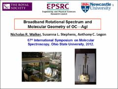 Thumbnail of BROADBAND ROTATIONAL SPECTRUM AND MOLECULAR GEOMETRY OF OC $\cdots$AgI