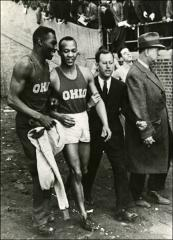 Thumbnail of Jesse Owens and Dave Albritton after a race, 1935