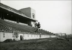 Thumbnail of Jesse Owens practicing the long jump, 1936