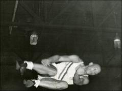 Thumbnail of Jesse Owens practicing the high jump, Berlin Olympics, (unclear image), 1936