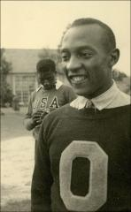 Thumbnail of A candid photo of Jesse Owens, Berlin, 1936