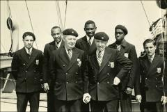 Thumbnail of Jesse Owens and members of the United States Olympic team on the boat ride to Berlin, 1936