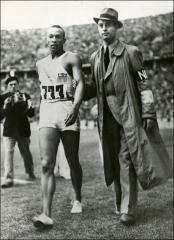 Thumbnail of Jesse Owens and a NBC reporter after the 100 meter race, 1936