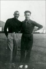 Thumbnail of Jesse Owens posed with Gregory Lambrakis, Berlin, 1936